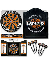Harley Davidson Dartboard and Cabinet Set