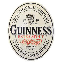 Guinness 3-D Oval English Label Tin Sign