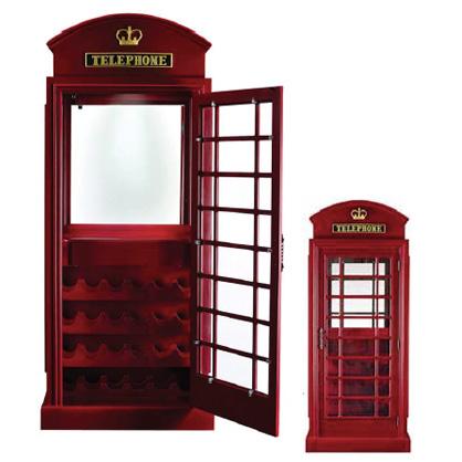 Bar Furniture Old English Telephone Booth Bar Cabinet