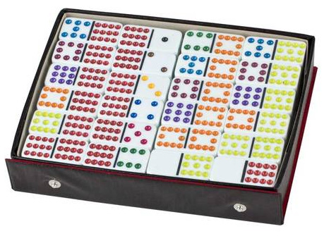 Domino Set - Double 12 Colour In Case